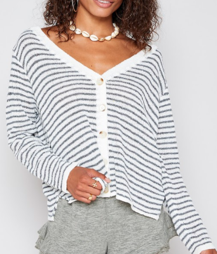 Sadie & Stripe Knit Cardigan