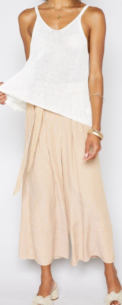 Linen Micro-stripe Wide Leg Pant with Tie- Canary