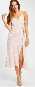 Cancun Faux Wrap Dress with Side Slit- Neutral Pink Print
