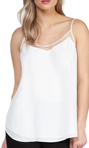 Mesh Trim Tank Top- White