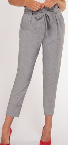 High waisted Pant with Belt- Dex- Grey Crosshatch