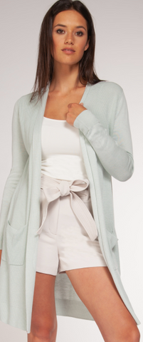 Long Sleeve Open Cardigan- Mint