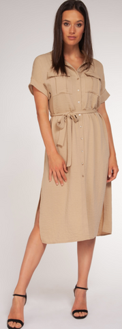 Button Front Dress with Belt- Tan