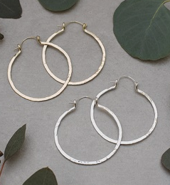 Hammered Hoop Earring- Gold or Silver Plated