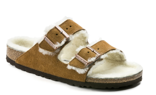 Birkenstock Arizona -  Leather Sandal with Shearling Lining in Mink Color
