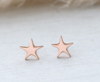 GLEE- Polygon Star Stud Earring- Rose Gold