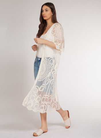 Embroidered Mesh Kimono Duster Cardigan-Ivory