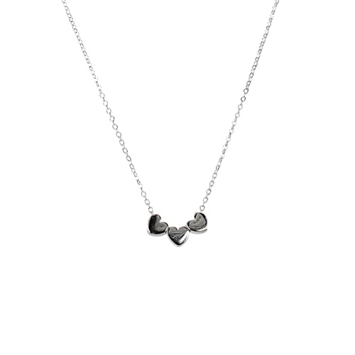 Mimi + Marge Triple Heart Puff  Sterling Silver Necklace