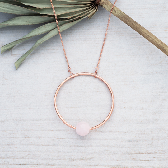 GLEE-Solo Circle Rose Gold  Long Necklace