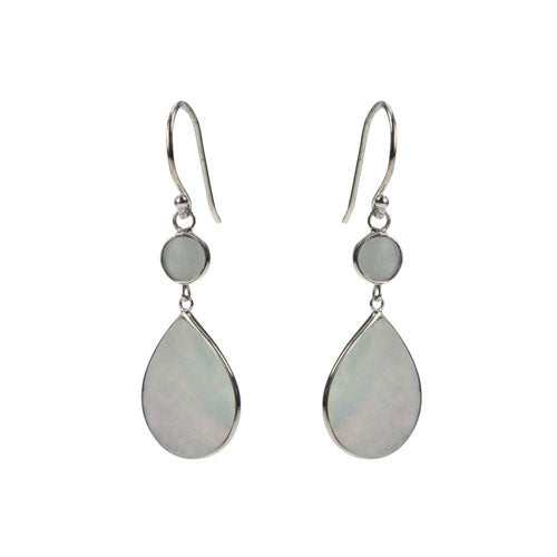 Mimi + Marge Mother of Pearl Teardrop w/ Circle Shell Earrings