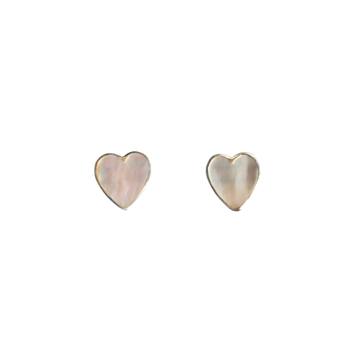 Mimi + Marge Mother of Pearl Heart Shell Stud Earrings