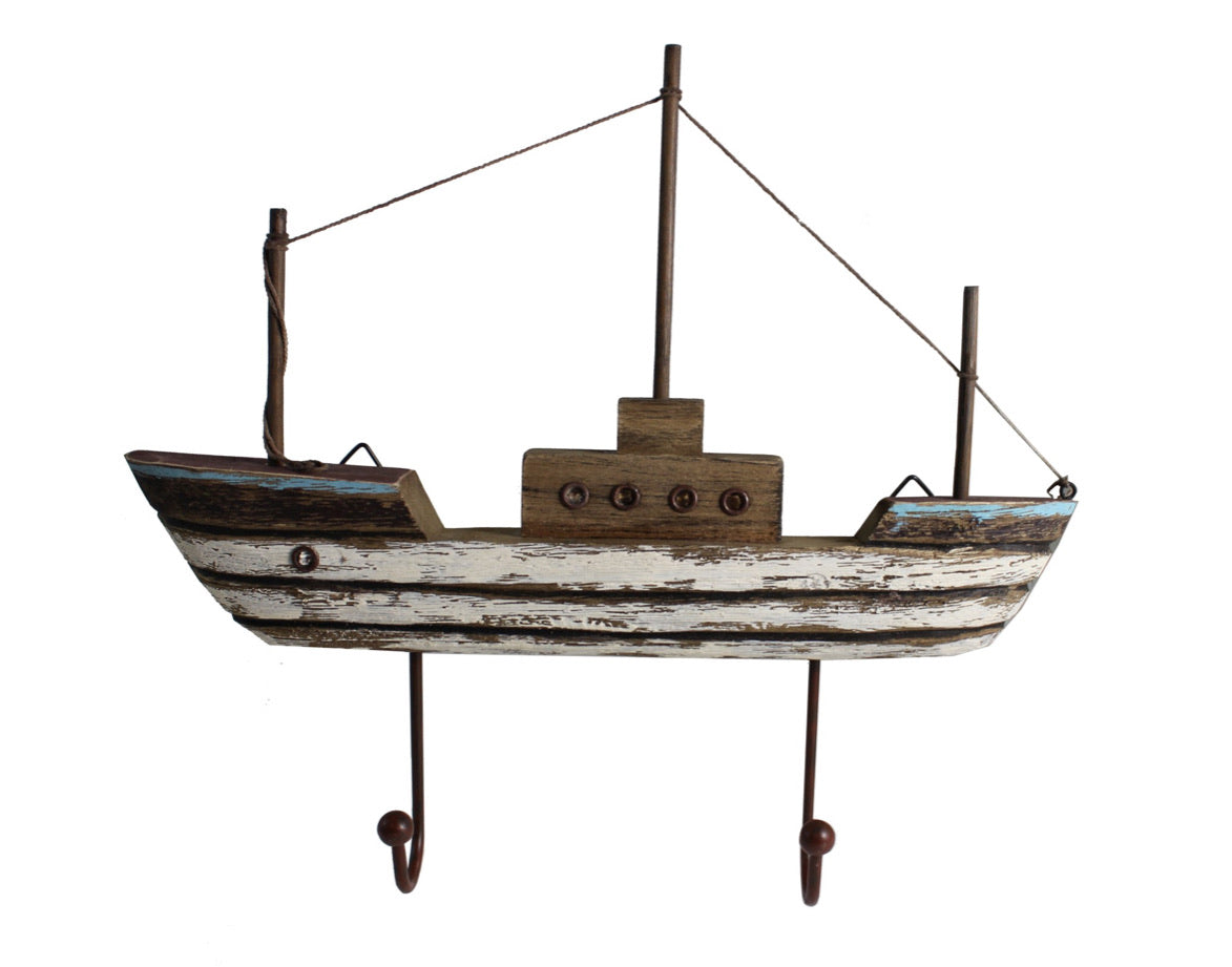 Wooden Boat With Hanging Hooks