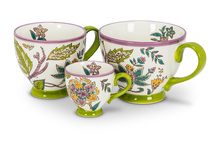 Green Floral Handled Cup - Cappuccino