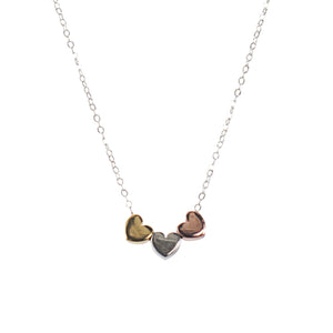 Mimi + Marge Triple Heart Puff Necklace