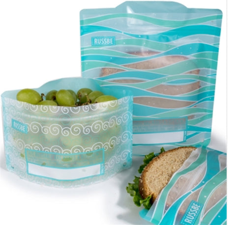 Reusable Snack And Sandwich Bags - Set 4 - Ocean