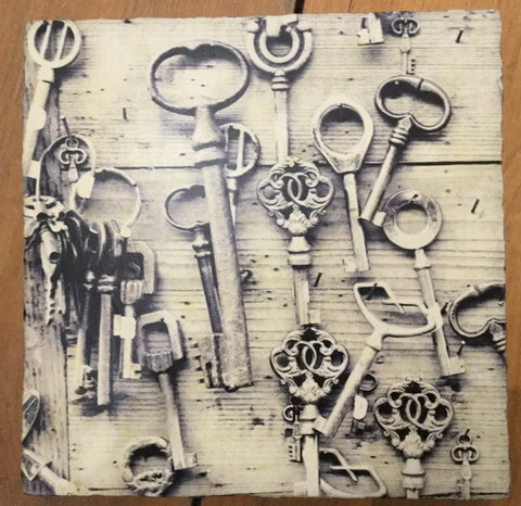 Large Lost & Found Art Block - Vintage Keys