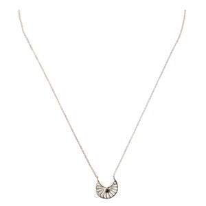 Mimi + Marge Fan Sterling Silver Necklace w/ Onyx