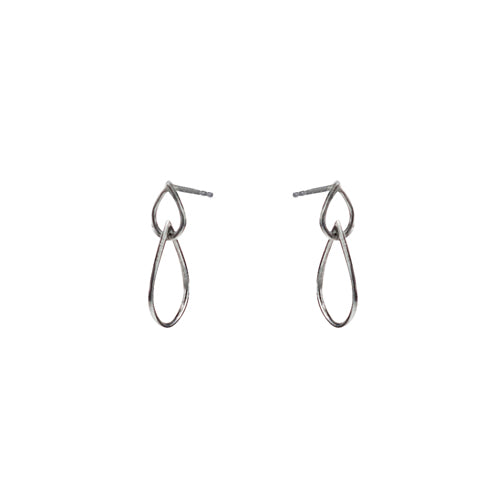 Mimi + Marge Double Open Tear Drop Sterling Silver Stud Earrings