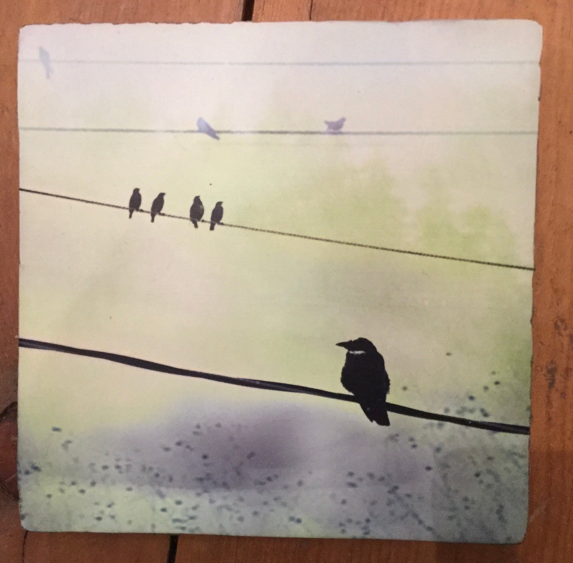 Large Lost & Found Art Block - Crows On A Wire
