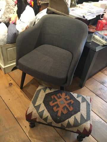 Fulton Curved Upholstered Armchair- Grey