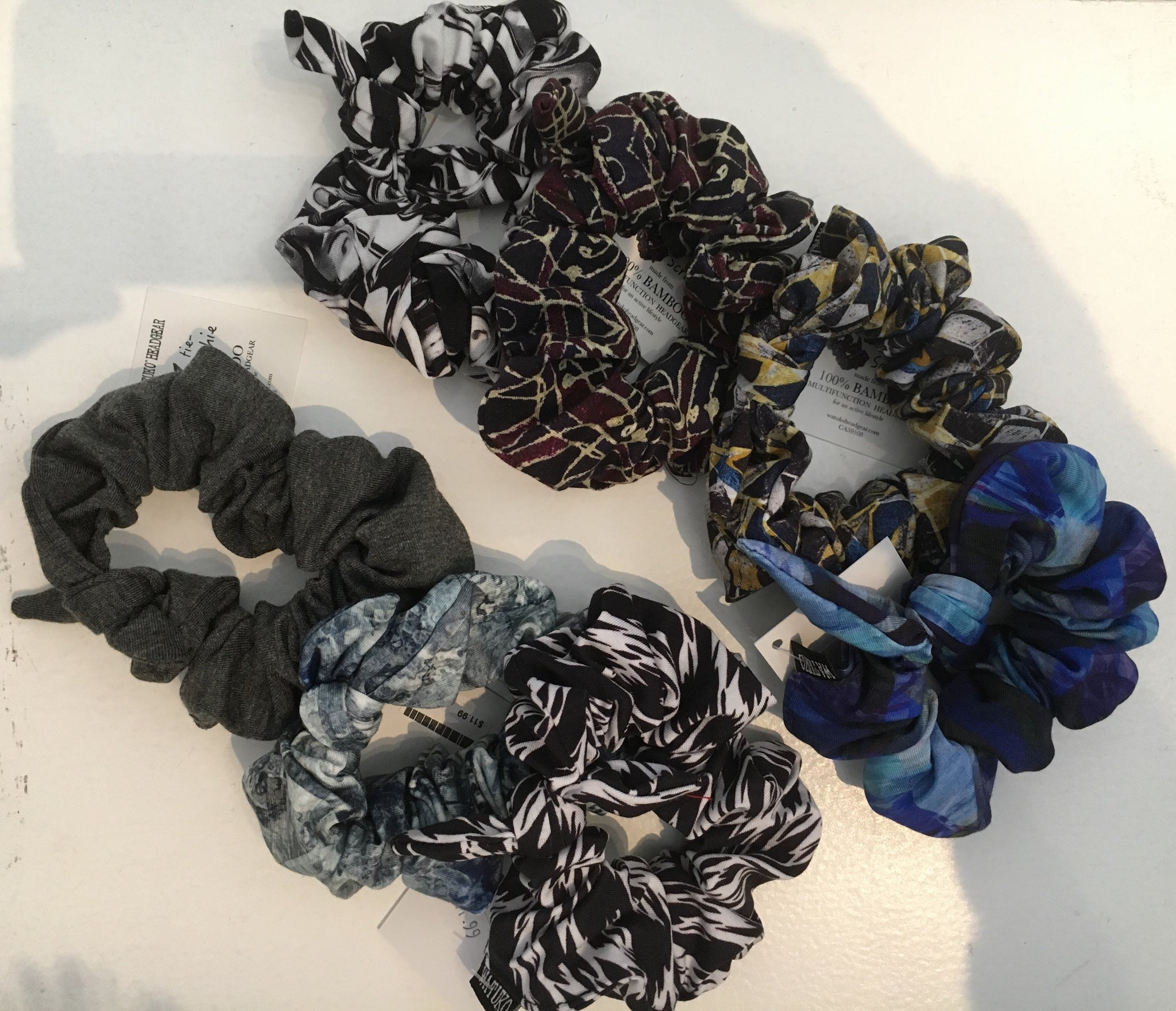 Bamboo Hair Scrunchie (Adjustable Tie with elastic)