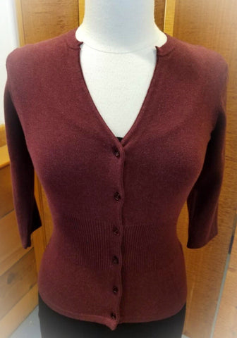 3/4 sleeve Button Cardigan Sweater- Burgundy