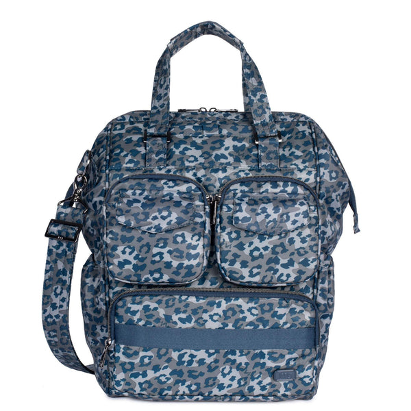 LUG- Via 2 Convertible Leopard Navy Tote