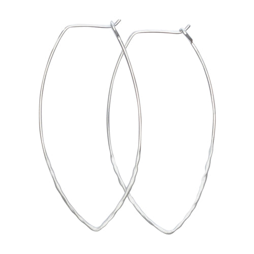 Mimi + Marge Large Hammered Sterling Silver Oval Wire Hoop Earrings