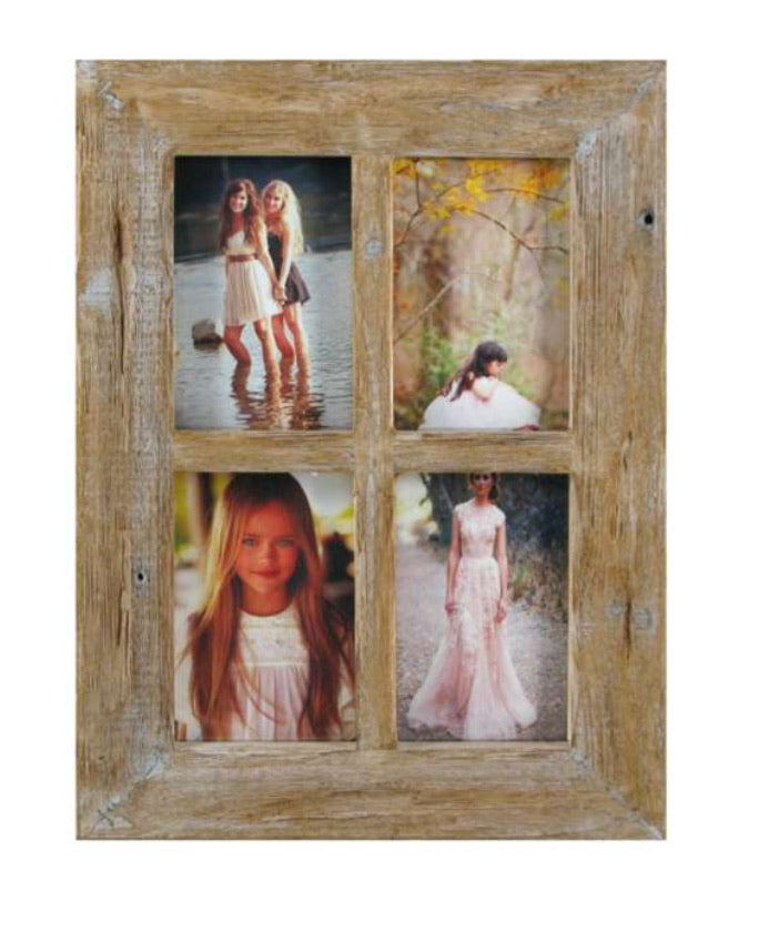 Natural Wood 4 Picture Collage Frame