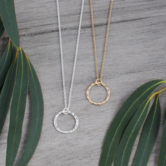 GLEE- Simple Circle Silver or Gold Plated Necklace