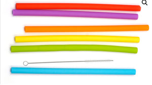 "10"" Silicone Smoothie Straws With Brush Set"