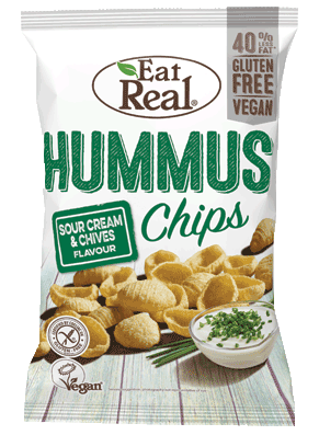 Hummus Chips Sour Cream and Chives, Eat Real 135g