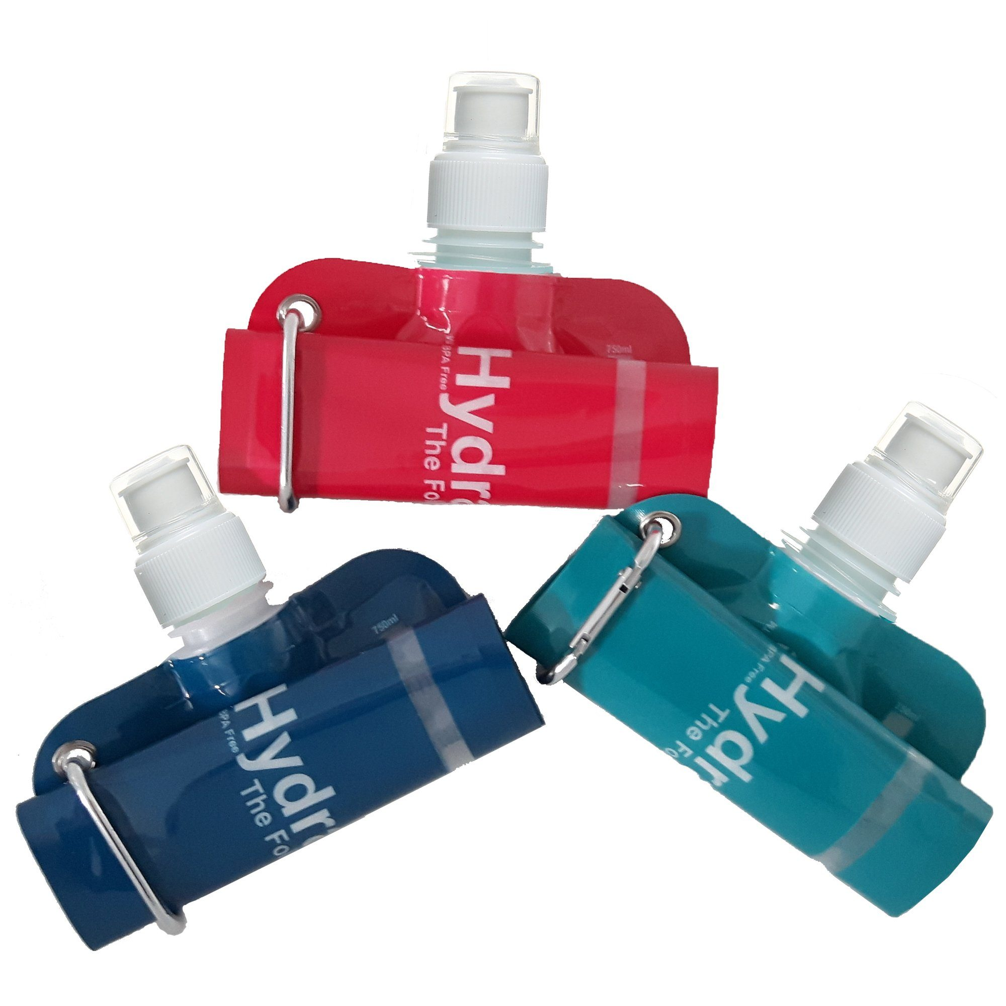 New HydraMate Foldable Bottle Colours. 750ml Collapsible Bottle 3 Pack.