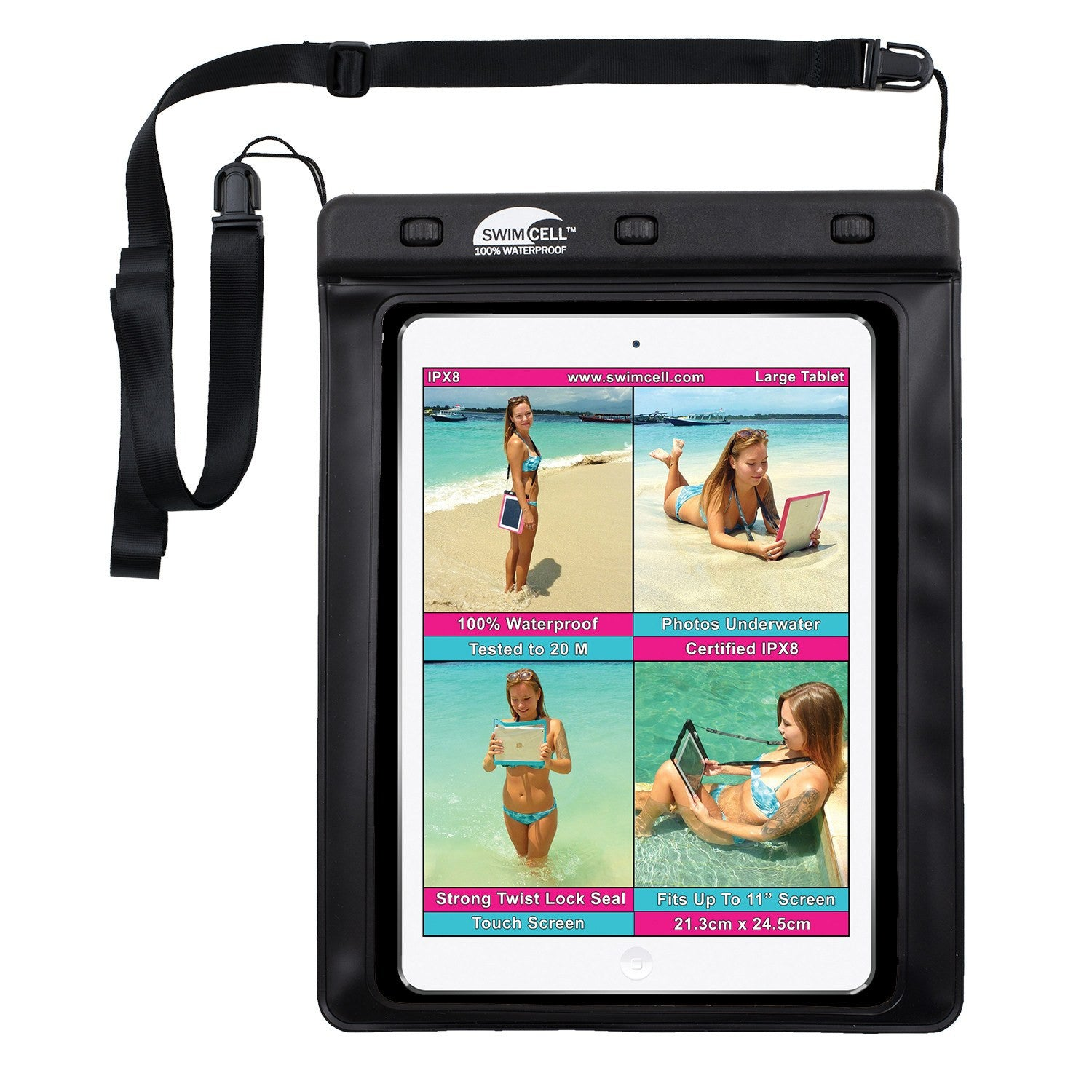 SwimCell 100% Waterproof Case For Large Tablets (21.3 x 25cm)