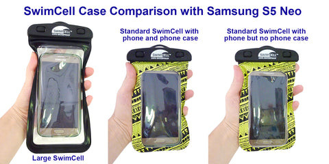 SwimCell Waterproof Case Large and Standard Size Comparison