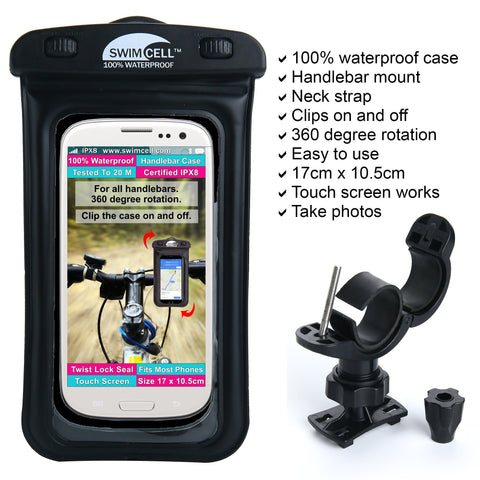 swimcell bicycle handle bar mount waterproof case