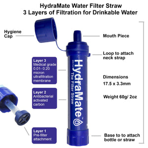 HydraMate Water Filter Straw Standard Size