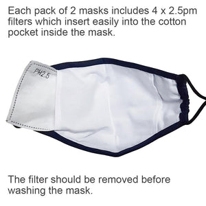 Triple layer face mask cotton with filter pocket