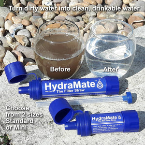 HydraMate Water Filter Straw Before and After