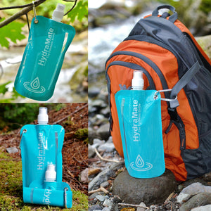 HydraMate Foldable Water Bottle for camping and outdoors