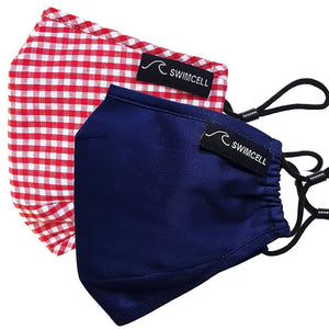 kids red gingham and navy face masks cotton