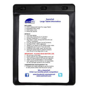 SwimCell Large Tablet waterproof case black with instructions