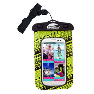 SwimCell waterproof case for phone neon yellow with insert and lanyard