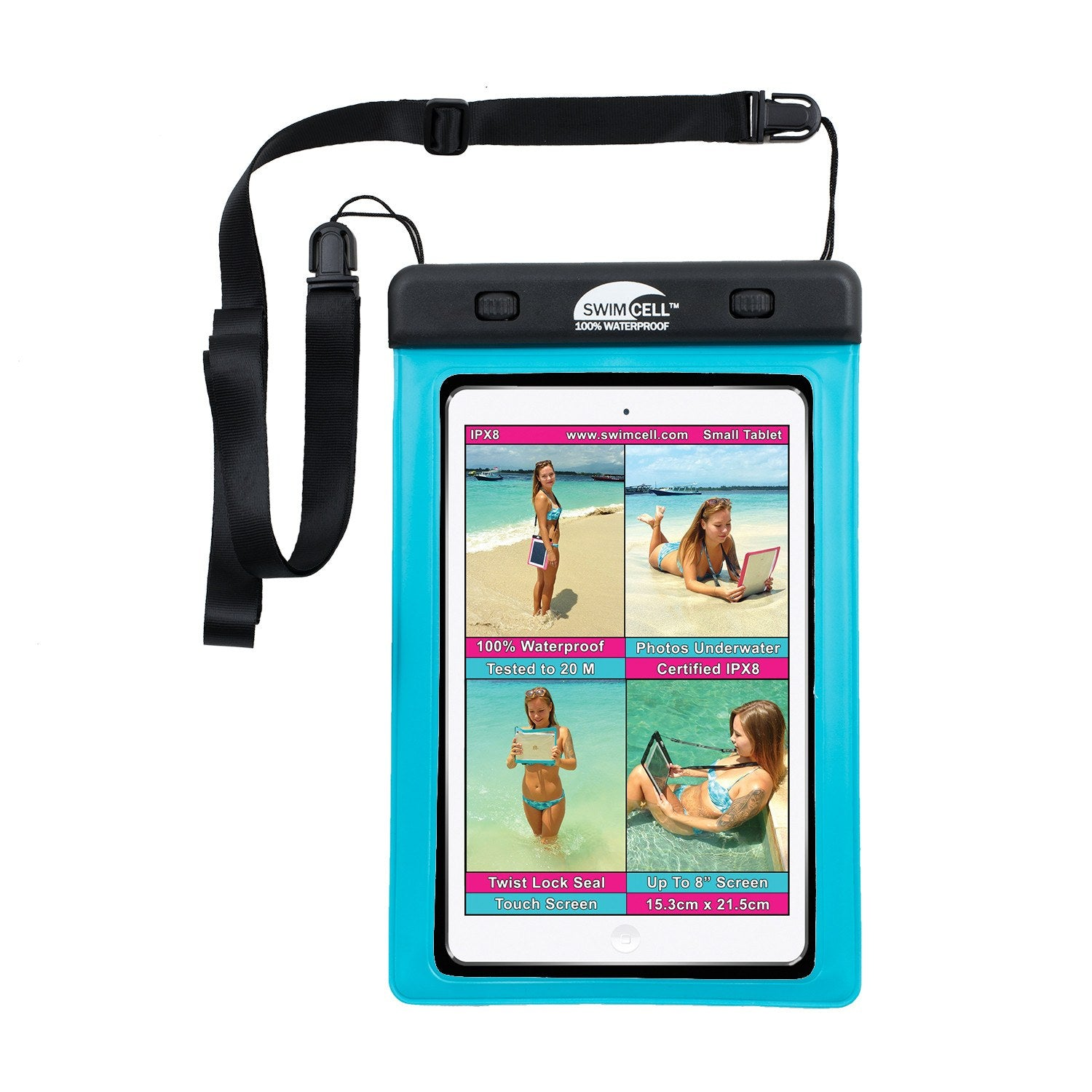 SwimCell Small Blue Tablet waterproof case