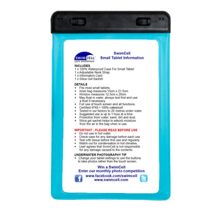SwimCell Small Blue Tablet waterproof case with instructions
