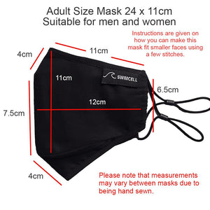 Adult cotton face mask measurements SwimCell