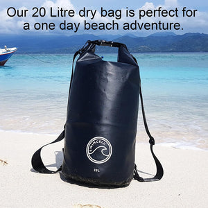 SwimCell waterproof dry bag on the beach