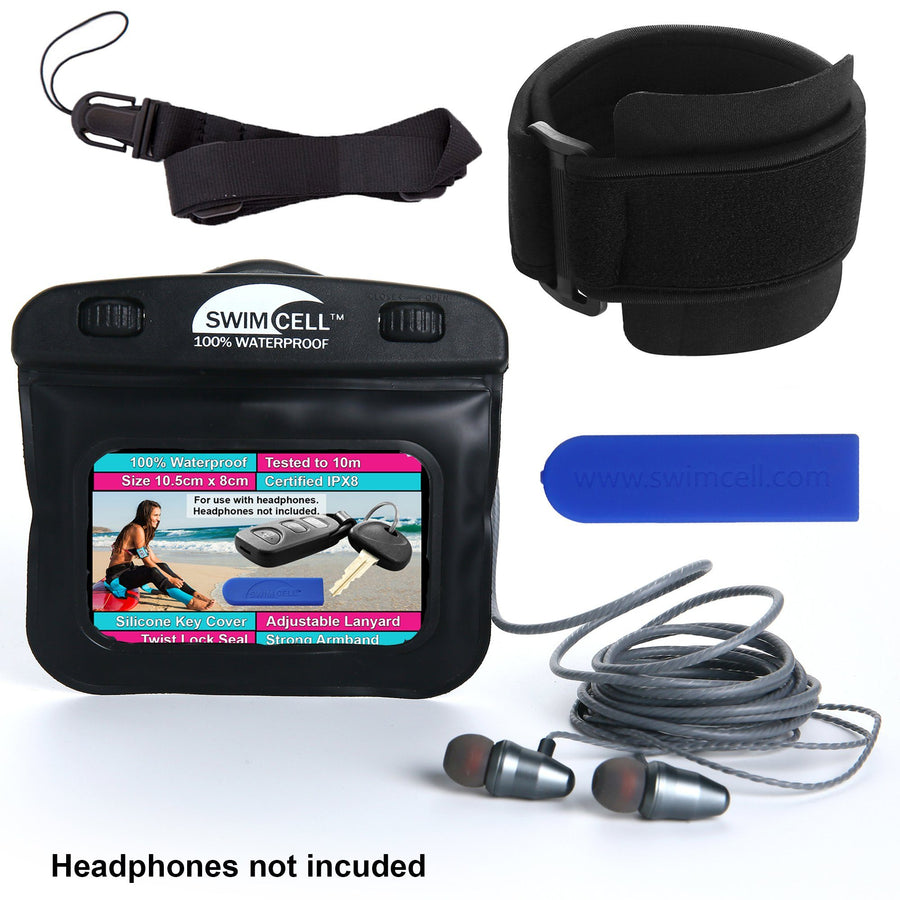 SwimCell 100% Waterproof Armband Case for Keys, Money, I.D, MP3 - (10cm x 8cm)