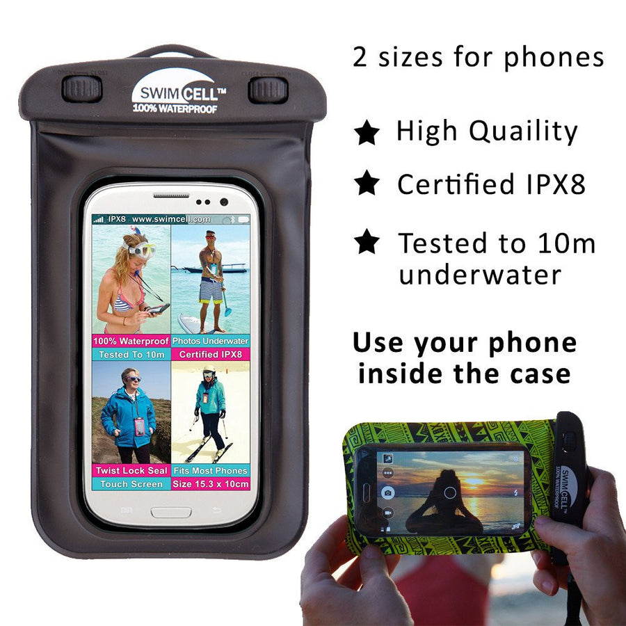 SwimCell waterproof case for phone black with insert