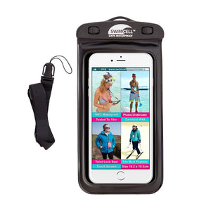 SwimCell Waterproof Case For Phone Large Black with lanyard
